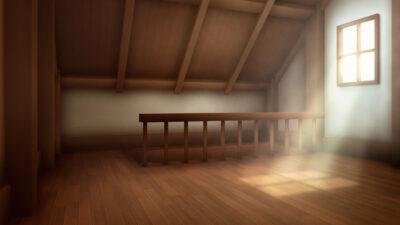 屋根裏部屋の背景イラスト