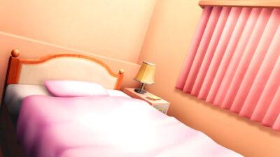 寝室の窓際のベッドの背景イラストのフリー素材