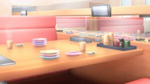 回転寿司の背景イラスト