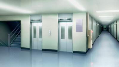エレベーター前廊下の背景イラスト