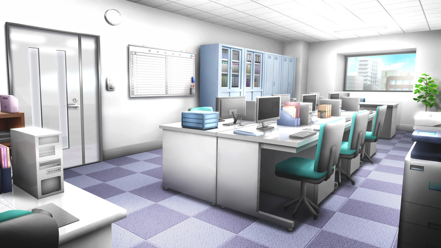 フリー素材】 会社のオフィス(4枚) 【背景イラスト】| みんちりえ