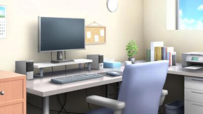 パソコン部屋の背景イラストのフリー素材