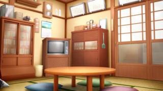 昭和レトロな茶の間の背景イラスト