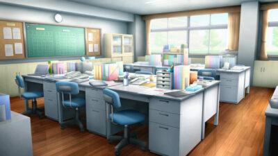 職員室の背景イラスト