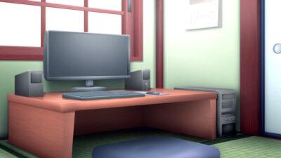 和室のパソコンの背景イラスト