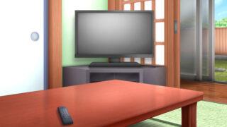 和室のテレビの背景イラスト