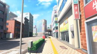 都会の街中の背景イラストのフリー素材